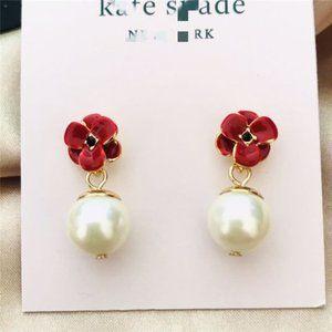 Kate Spade Red Enamel Flower Pearl Pendant Earring